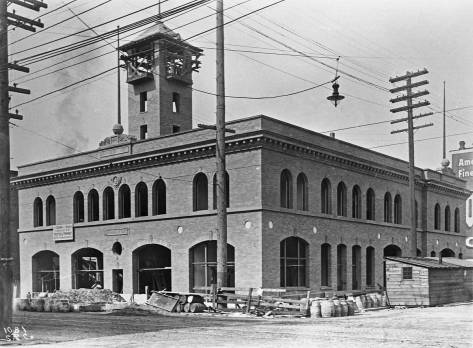 Firehouse No.10 - and its tower - under construction in 1903.  Looking northwest to the northwest corner of Third Ave. and Main Street.