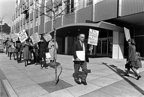 THEN: Friends of the Market president, architect Victor Steinbrueck, leads a cadre of Friends marching for Market preservation in front of the Seattle City Hall most likely on March 18, 1971. (Photo by Tom Brownell from the Post-Intelligencer collection at MOHAI)