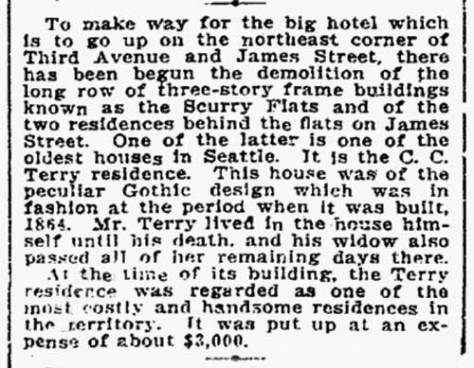 "A Seattle Times announcement on Feb. 4, 1906 that the C.C. Terry house with its ""peculiar Gothic design"" was being demolished."