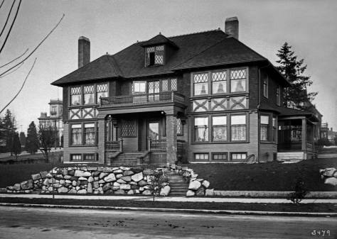 THEN: Built in the early twentieth century at the northeast corner of Jefferson Street and Boren Avenue, Bertha and Frank Gardner's residence was large but not a mansion, as were many big homes on First Hill. (Courtesy Washington State Museum, Tacoma)