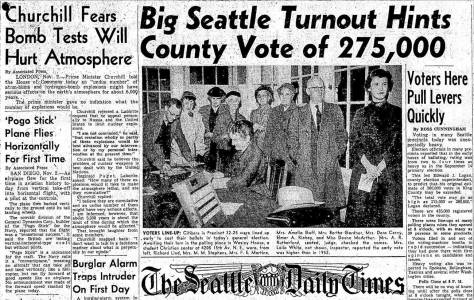 A Times clipping from Nov. 2, 1954 shows Bertha voting at