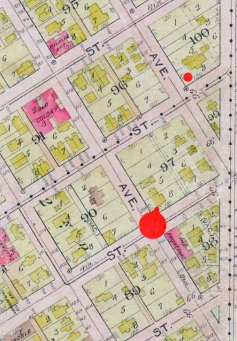 A helpful detail from the 1912 Baist Real Estate Map - even without the street names.  The bigger red dot marks the northeast corner of Boren and Jefferson, the site  of the Gardner home, and the small dot rests beside the footprint for the Haller mansion at the northeast corner of Minor and  James.  [courtesy, Ron Edge]
