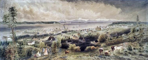 A panorama of Seattle seen from First Hill and painted in the 1870s.  It hangs in the New  York Public Library - either from the wall or in storage.