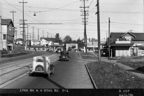 Some years after this photograph was recorded looking north on 15th Ave. NW from 64th Street, the next intersection at 65th was determined by crash statistics to be the most dangerous in Seattle.  It cannot be seen here if the intersection has, as yet, a stoplight in 1938.