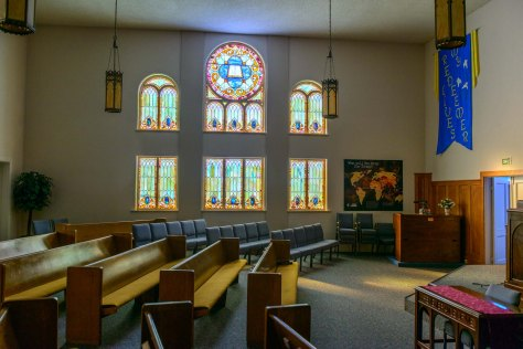 Rev. Duncan is justly proud of Ballard Baptist's stained glass