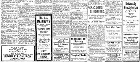 A sampler of religious attractions published in The Times for Sept. 27, 1919.
