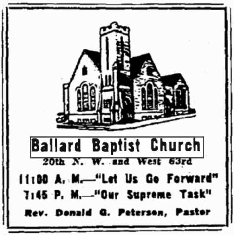 A notice for the Ballard Baptist Church from The Seattle Times for Oct. 4, 1947.