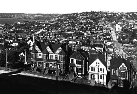 Another pan from Denny Hill to the northeast.  Stewart Street is on the right and Fourth Avenue at the bottom of the frame.   Lenora Street can be found in this A. Curtis shot as well.  It is left of center, again heading down the hill from the Cascade Plateau to Terry Avenue.   Wallingford is on the far left horizon. (Courtesy, Washington State Museum, Tacoma)