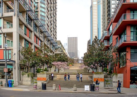 NOW: The Harbor Steps, which now join the city to its waterfront via University Street, is perhaps our best example of what might be once the Alaskan Way Viaduct is removed.