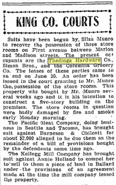 Silas Munro confirms his ownership of the storefronts shown in the featured photo at the top.  The new brevity is clipped from The Times July 4, 1901.