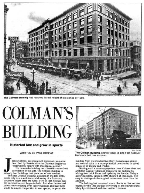 The Colman Bldg first appear in Pacific on March 1, 1987.