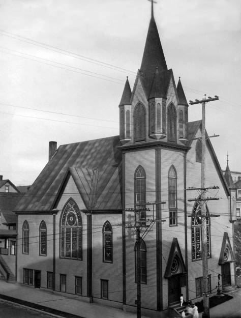THEN: Swedish Lutheran (Gethsemane) Church's second sanctuary at the northeast corner of Ninth Avenue and Steward Street circa 1920, photo by Klaes Lindquist.  (Courtesy, Swedish Club)