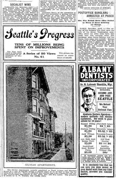 A Times real estate promotion from April 2, 1911 featuring the Silvian as it 41st example