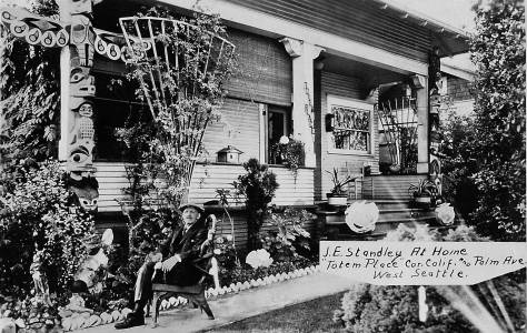 "THEN: Totem Place, at 1750 Palm Ave. S.W., was home for Joseph Standley proprietor of Ye Old Curiosity Shop on Colman Dock. His death notice in The Seattle Times for Oct. 25, 1940 described the 86-year-old ""Daddy"" Standley as ""almost as much a part of Seattle's waterfront as the waves that dash again the seaweall."""