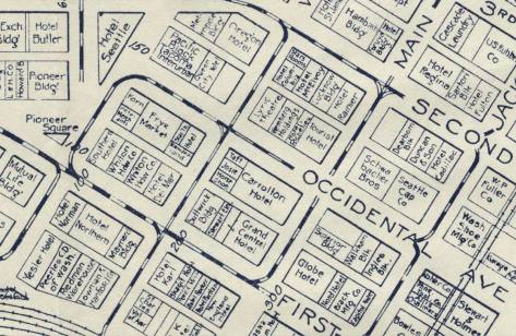 A Pioneer Square neighborhood detail from a 1925 real estate map.  We have centered the detail on the Ca