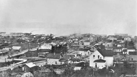 A circa 1888 panorama of the neighborhood  south of Mill (Yesler Way) taken from near 6th and Washington before the 1889 fire.  Some day we will determine if the brand new and short-lived
