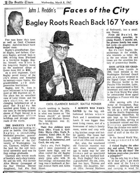 Time's columnist John Reddin's feature on Cecil Clarence Bagley, hie parents and the family home, printed on March 8, 1967.