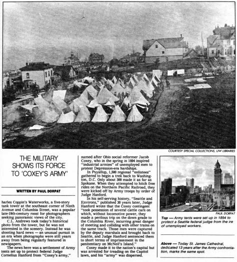 COXEY'S ARMY encamped on what is now the St. James corner.  First appeared in Pacific, Feb. 28, 1988.