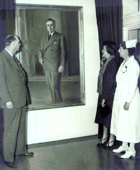 "A portrait of Dr. James Tate Mason painted by Neal Ordayne. The painting was given to the hospital by, its Seattle Times caption reads, ""nurses of teh staff and graduates of the hospital's nursing school, was unveiled by Mrs. Virginia Mason Elliott, Dr. Mason's daughter, for whom the hospital was named. In the picture are Dr. George A. Dowling, Mrs. Elliott and Miss Anna J. Fraser, at right, superintendent of the hospital."" ca. 1937"
