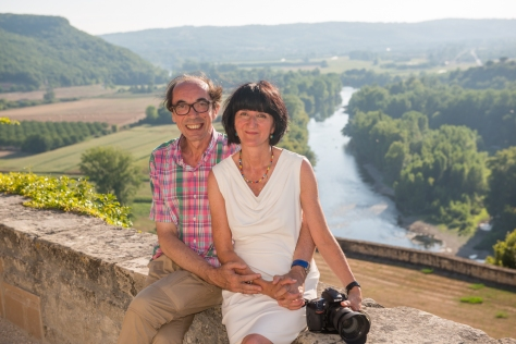 Here's Beranger with her husband Denis Christophe perched on Beynac's medieval castle walls high above the river