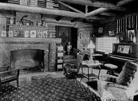 THEN: Included among the several detailed photos taken for the Bernards of their new and yet rustic Fir Lodge, was this one of the living room with its oversized fireplace and the piano on which Marie, their older daughter, learned to play well enough to concertize. (Courtesy Doris Nelson)