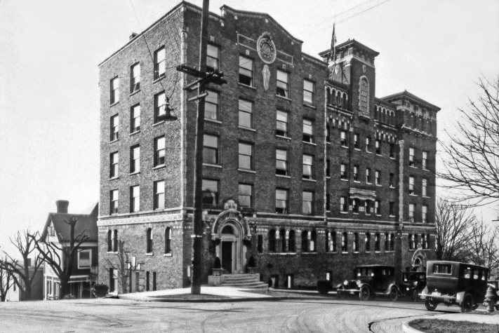 "THEN: An early view of Virginia Mason Hospital, which opened in the fall of 1920 at the northwest corner of Terry Avenue and Spring Street. In 1980 for its anniversary, the clinic-hospital could make the proud statement that it had ""spanned sixty years and four city blocks."" Courtesy Lawton Gowey"