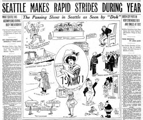 The Yesler Way slide was included in The Times four page chronology of the big local events of 1911 - although not on this page, which we have chosen for the cartoon.