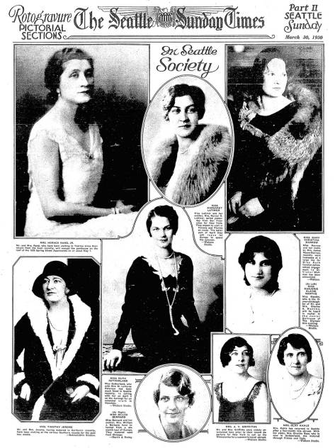 Billie serving as the center base for a March 30, 1930 montage of Seattle Society women.