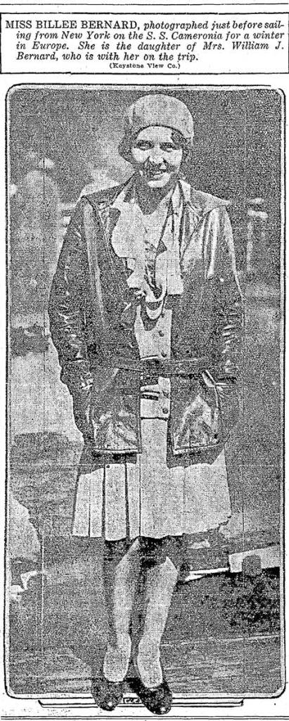 Billie Bernard in New York preparing to tour Europe with her mother. Appeared in The Times for Oct. 10, 1929, and so close to the market crash.