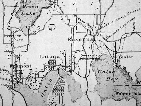 "A detail from the 1894 ""Real Roads Map of Seattle"" centered on Latona at the north shore of Lake Union. Note the railroad spur onto the future University of Washington Campus, which opened in 1895. The spur leads to the Denny Building. There is as yet no Brooklyn noted on this map, and University District is a name still ten years from being used - sometimes. The transition from Brooklyn to University District was busy with University Station, using the trolley stop at University Way and 42nd Ave. as the oft-used synecdoche for the neighborhood of town and gown."