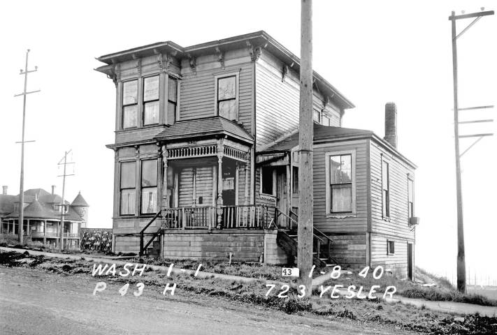 THEN: The address written on the photograph is incorrect. This is 717 E. Washington Street and not 723 Yesler Way. We, too, were surprised. (Courtesy Seattle Municipal Archive)