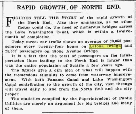 Traffic on the Latona Bridge as reported in The Times for Nov. 20, 1913, six years before being replaced by the nearby University Bridge.