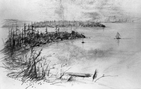Dated 1890, this sketch of Alki Point from the ridge is included in an unattributed sketchbook. Some of the pages were used on both sides for its pencil sketches with the consequences show here. The graphite was shared from one page with the page it faced.