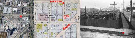 The corner of Mercer and 6th market three times with red dots. The aerial on the left is used courtesy of Google, and the map at the center is a detail from the Baist Real Estate Map for 1912, courtesy Ron Edge.