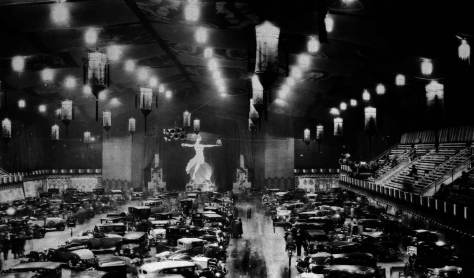 An early auto show inside the Civic Auditorium.