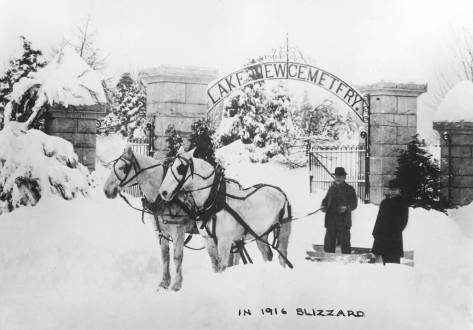 """The old main entrance to Lake View Cemetery off of 15th Avenue and not far from the present entrance. The 1916 Big Snow was Seattle's penultimate blizzard - after the 1880 one. At this time Dutch Ned has been snug in his """"little house"""" for eighteen years."""