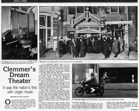 The Dream Theatre also at the foot of Cherry Street on the west side of Front. First appeared in Pacific, Jan. 22, 1984.