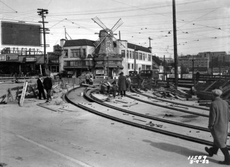The Van de Kamp Bakery windmill watches over the laying tracks to and from NE 40th Street at the north end of the new bridge on March 9, 1933. [Courtesy, Municipal Archive]