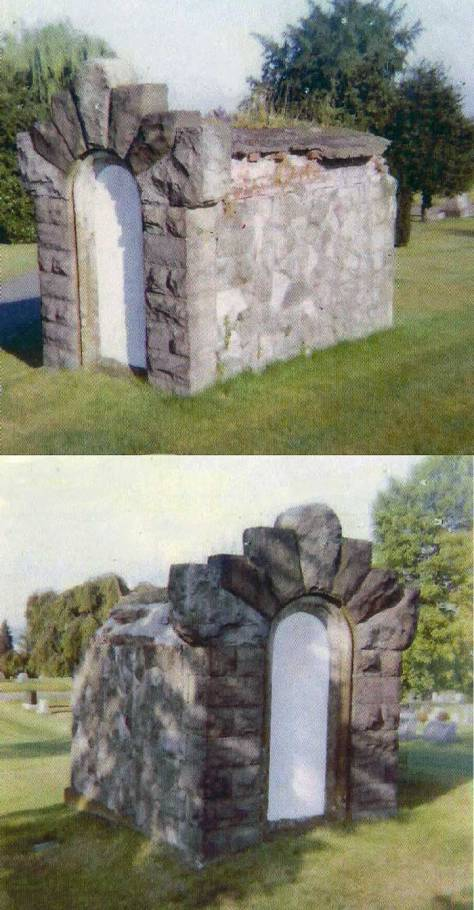 Two snapshots of Dutch Ned's mausoleum photographed in 1964. The roof is eroding, and the structure was soon destroyed or, better, dismantled. If the head stone writing is on the white door it is hard to make out, at least in these snapshots. Ohmn, of course, is still inside about as long after his death as his birth was before it. (Courtesy, Lake View Cemetery)