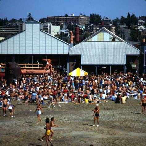 "Shaw's caption reads ""Crowd at Peace Concert, Gasworks Pk. Aug. 22, 1982."" Not so long ago. This is the last of the colored Shaw's we are putting up. There are other. The return to Grandma's Cookies follows."