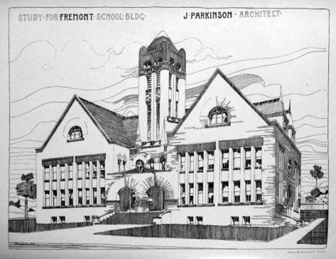 Parkinson's drawing for one of his early commissions, the B.F.Day school in Fremont, include a central tower, which was somewhat typical for ambitious architects hoping to convince clients - the Seattle School Board - to show off. It was, however, dropped from the plan. (Courtesy Ron Edge)
