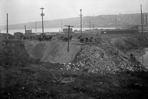 The protected retreat for swimmers became a landfill in the teens. Note Western Mill on the far right.. The wagons are line-up on Eighth Avenue more likely than Ninth. The photographer stands near Aloha Street and Dexter Avenue.