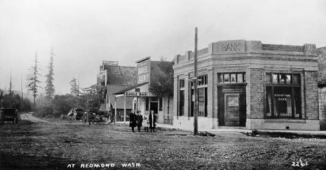 THEN: Redmond reaped its first bank in 1911 at the pioneer corner of Cleveland Avenue and Leary Way. (Courtesy, Kirkland Historical Society)