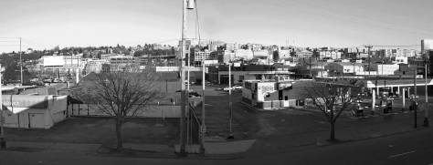 Photographed ca. 2003 from the second floor of the terracotta palace the McKay built for his Ford dealership in 1923. The view looks east across Western Avenue and very close to LaRoche's prospect for the view above it.