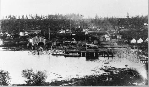 Probably the second oldest look over the south end of Lake Union. The Western Mill is new and crude, and so from the early-mid 1880s. But with the Seattle boom beginning it grew quickly.