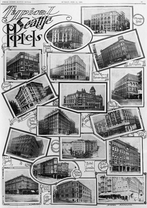 "This Feb. 25, 1906 clip is pulled from a special Seattle Times section illustrating the splendors of Seattle in 1906. It was a remarkable boom town. The ""typical"" part of this page's title is a bit self-assured. Yet, it is remarkable that all of this and much more had been constructed after the city's Great Fire of 1889. These are the Prince Rupert's downtown competitors, most of them with many more rooms."