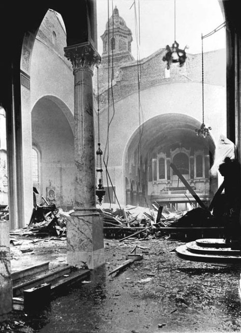 The Saint James Cathedral after the Big - and wet - show of 1916 crushed its dome.