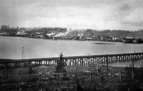 An early look across Salmon Bay from the northwest corner of Queen Anne Hill. The curving Great Northern Railroad trestle (1892-3)