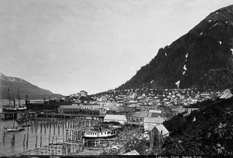 In the Video at the top, Robin locates this look across Juneau as near where the cruise ships now slip in.