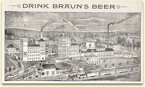 Well into the 20th Century when the reproduction of photographs in publications left much to be desired, it was typical for businesses of size to use litho depictions of their homes and plants. This one of Braun's brewery is peculiar. I includes structures that are not in the photo at the top but almost surely would have been include had they be build by the time of its recording. Also the litho puts Mount Rainier - if that is what it is - to the northwest of the brewery when it was the opposite. But then (and now) who is checking?